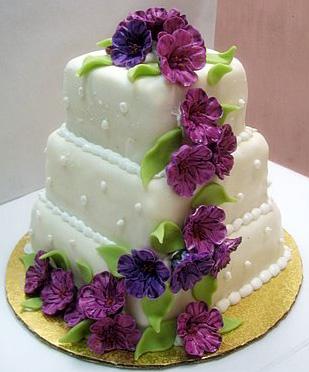 violet floral wedding cakes